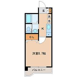 JR仙山線 国見駅 徒歩14分の賃貸マンション 2階1Kの間取り