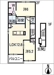 ファミール中央[2階]の間取り