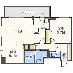 北海道札幌市中央区北五条西24丁目の賃貸マンションの間取り