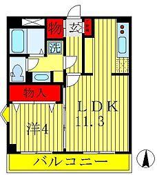 千葉県鎌ケ谷市新鎌ケ谷2丁目の賃貸マンションの間取り