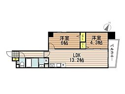 JR京浜東北・根岸線 さいたま新都心駅 徒歩10分の賃貸マンション 6階2LDKの間取り