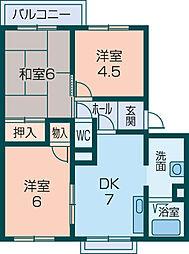 奈良県橿原市葛本町の賃貸アパートの間取り