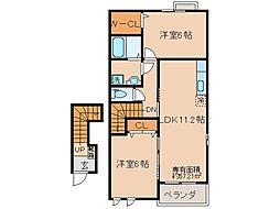 京都府京都市山科区小野御霊町の賃貸アパートの間取り