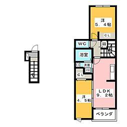 プリートカーサ[3階]の間取り