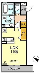 広島県福山市春日町2丁目の賃貸アパートの間取り