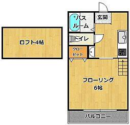 福岡県福岡市早良区曙2丁目の賃貸アパートの間取り