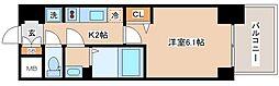 JR山陽本線 兵庫駅 徒歩10分の賃貸マンション 15階1Kの間取り