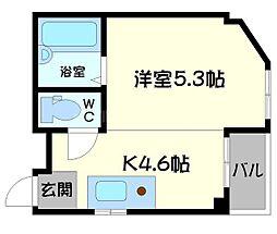 エクセルハウス 2階1Kの間取り
