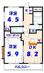 ベルビュー矢切弐番館[407号室]の間取り