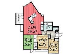 京成本線 志津駅 徒歩15分の賃貸マンション 2階3LDKの間取り