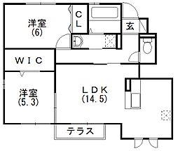 静岡県浜松市西区入野町の賃貸アパートの間取り