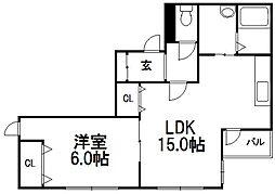 北海道札幌市西区西野八条3丁目の賃貸マンションの間取り