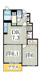 エアリーヒル 天王台 I番館[1階]の間取り