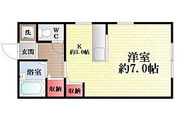 神奈川県横須賀市富士見町3丁目の賃貸アパートの間取り