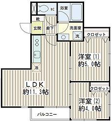 神奈川県横浜市鶴見区本町通2丁目の賃貸アパートの間取り