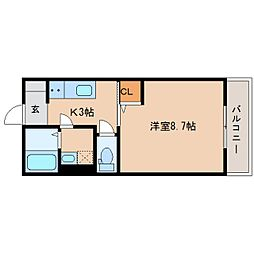 静岡鉄道静岡清水線 新清水駅 徒歩6分の賃貸アパート 2階1Kの間取り