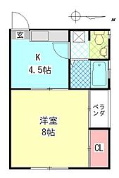 メゾン舞鶴[201号室]の間取り