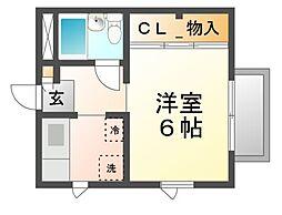 兵庫県尼崎市東園田町9丁目の賃貸アパートの間取り