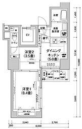 アイルプレミアム文京六義園 6階2DKの間取り