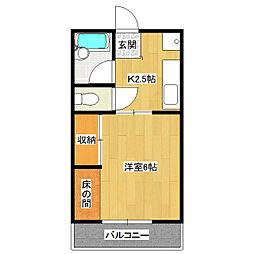 ヤワタハイツ[1階]の間取り