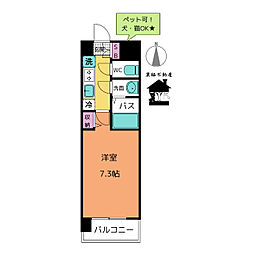 愛知県名古屋市中区松原2丁目の賃貸マンションの間取り