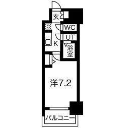 名古屋市営東山線 新栄町駅 徒歩9分の賃貸マンション 2階1Kの間取り