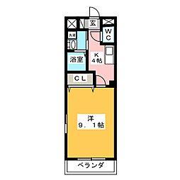 岐阜市東鶉I様新築アパートA棟[2階]の間取り