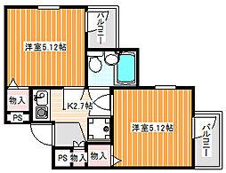 ミングル新北島一番館[2階]の間取り
