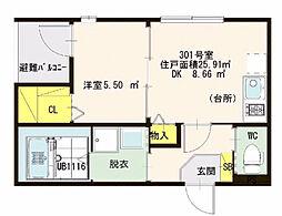 仮)ハーモニーテラス・東大阪瓜生堂2丁目・SKHコーポ[301号室]の間取り