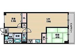 大阪府豊中市北条町4丁目の賃貸マンションの間取り