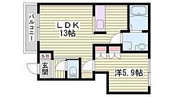 JR東海道・山陽本線 大久保駅 徒歩24分の賃貸アパート 1階1LDKの間取り