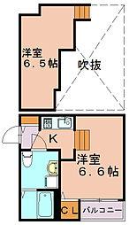 福岡県福岡市博多区竹下4丁目の賃貸アパートの間取り