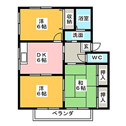 クレセント B[2階]の間取り