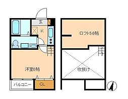 スリジェ松戸[1階]の間取り