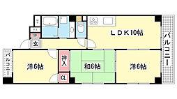 エスポワール湊川公園[601号室]の間取り