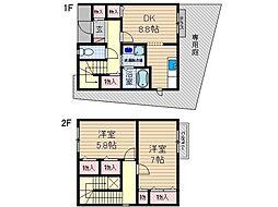 [テラスハウス] 大阪府茨木市東太田4丁目 の賃貸【大阪府 / 茨木市】の間取り
