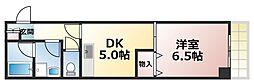 大阪府大阪市生野区中川西2丁目の賃貸マンションの間取り