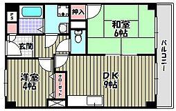 大阪府大阪狭山市池尻中3丁目の賃貸マンションの間取り