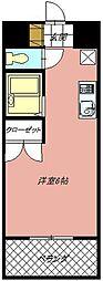 カーサ黒崎 4階ワンルームの間取り