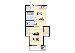 北田フラワーハウス[203号室]の間取り