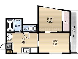 山陽コーポ[4階]の間取り
