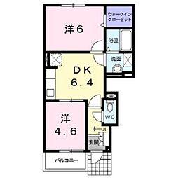 北海道江別市牧場町の賃貸アパートの間取り