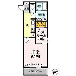 JR中央本線 甲府駅 徒歩12分の賃貸アパート 3階1LDKの間取り