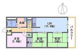 長岡京グリーンマンション207[2階]の間取り
