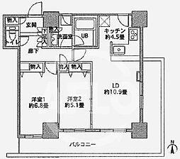カスタリアタワー長堀橋 13階2LDKの間取り
