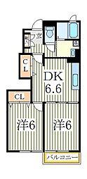プラシードB[1階]の間取り