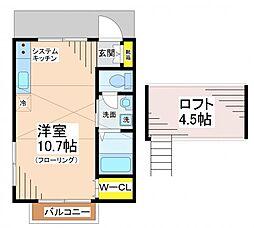 東京都世田谷区給田4丁目の賃貸アパートの間取り