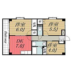 京成本線 公津の杜駅 徒歩20分の賃貸マンション 1階3DKの間取り