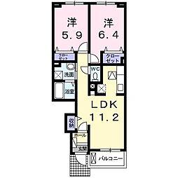 ロータス南島田D[103号室]の間取り