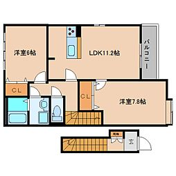 近鉄大阪線 近鉄下田駅 徒歩15分の賃貸アパート 2階2LDKの間取り